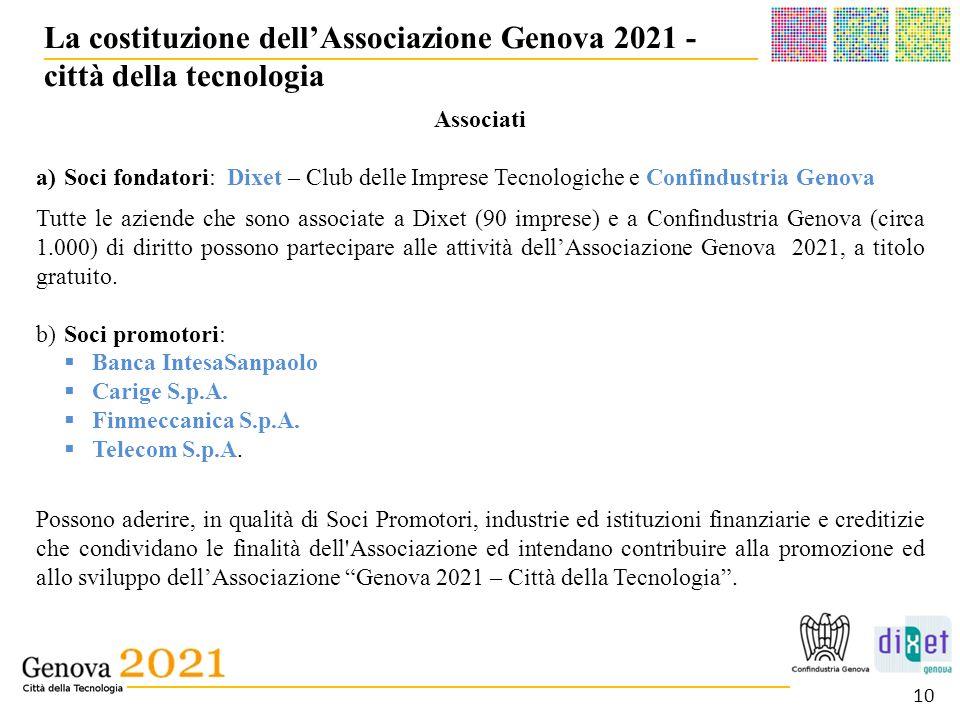 La costituzione dell'Associazione Genova 2021 - città della tecnologia