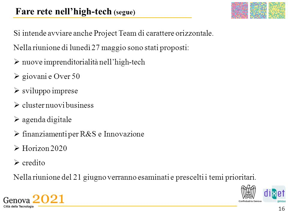 Fare rete nell'high-tech (segue)