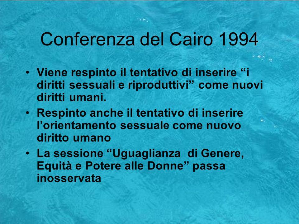 Conferenza del Cairo 1994Viene respinto il tentativo di inserire i diritti sessuali e riproduttivi come nuovi diritti umani.