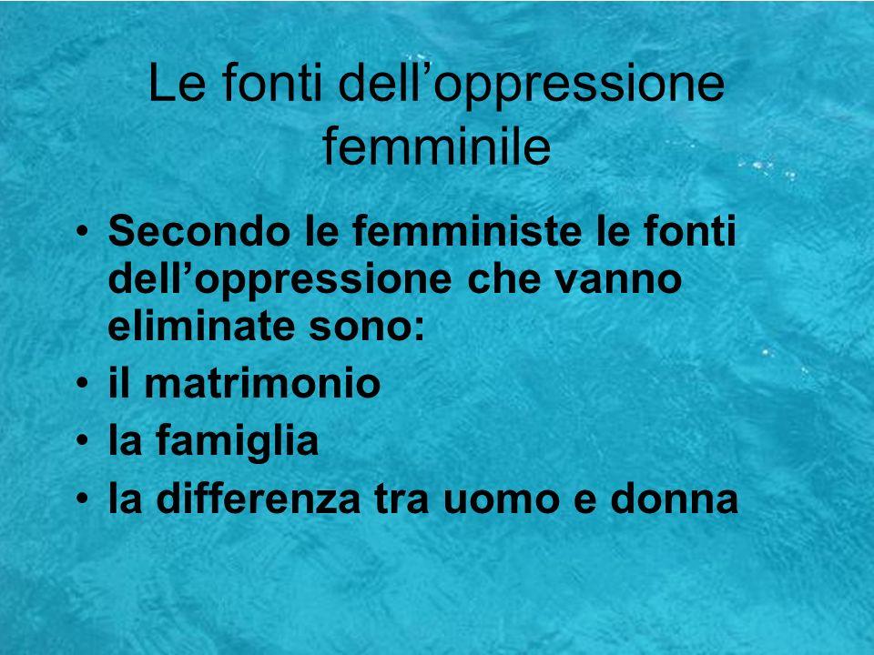Le fonti dell'oppressione femminile