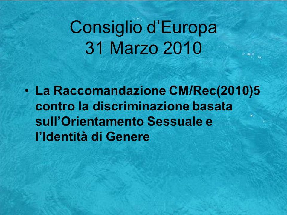 Consiglio d'Europa 31 Marzo 2010