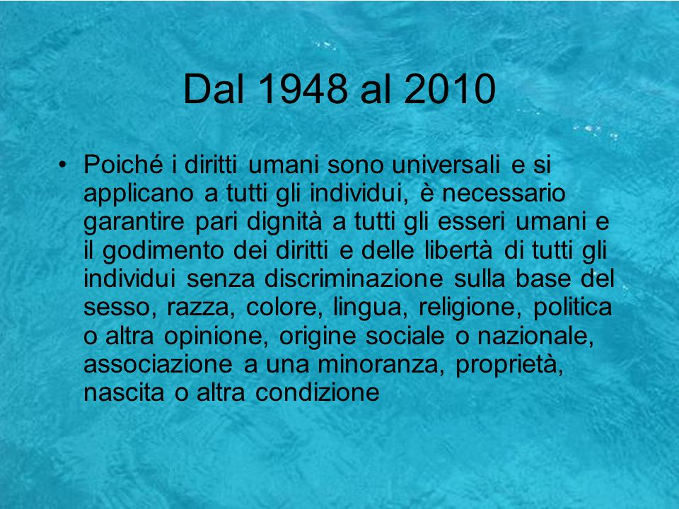 Dal 1948 al 2010