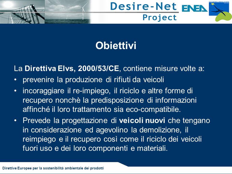 Obiettivi La Direttiva Elvs, 2000/53/CE, contiene misure volte a: