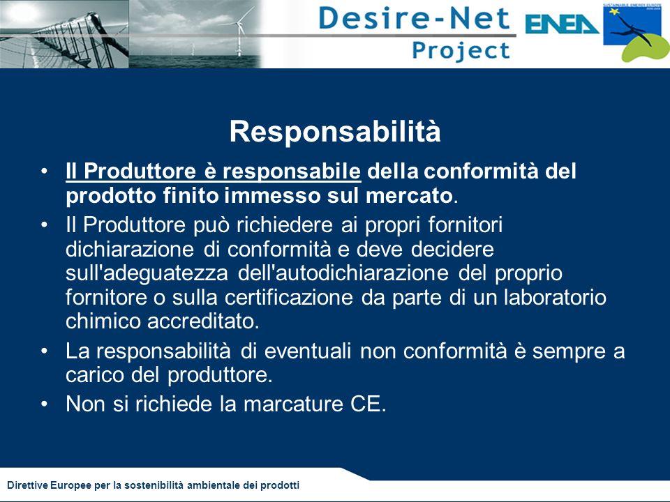 Responsabilità Il Produttore è responsabile della conformità del prodotto finito immesso sul mercato.