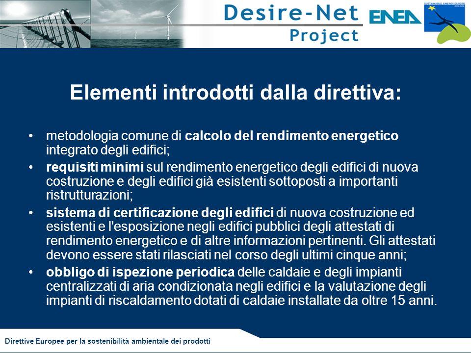 Elementi introdotti dalla direttiva: