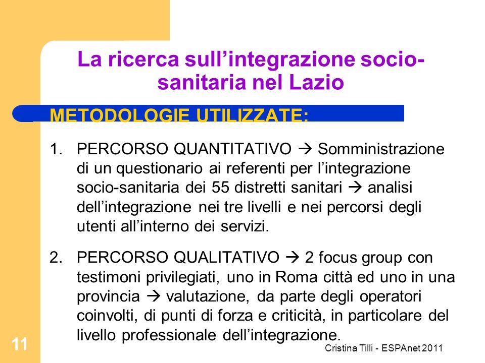 La ricerca sull'integrazione socio-sanitaria nel Lazio