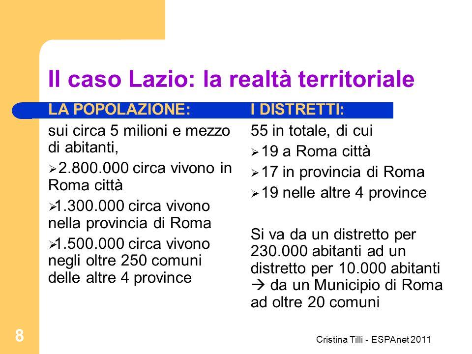 Il caso Lazio: la realtà territoriale