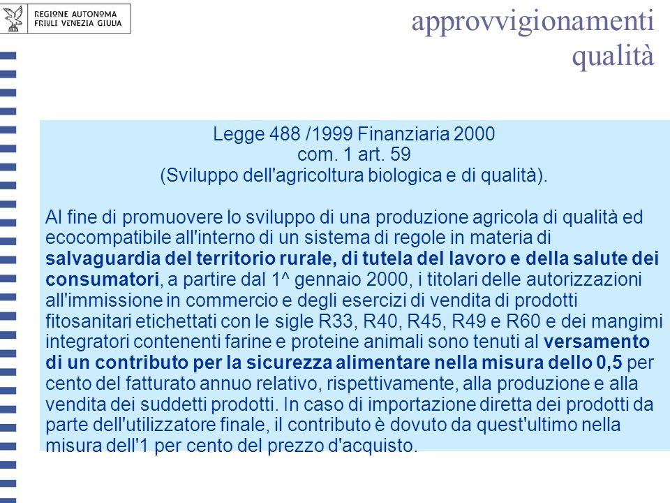 com. 1 art. 59 (Sviluppo dell agricoltura biologica e di qualità).