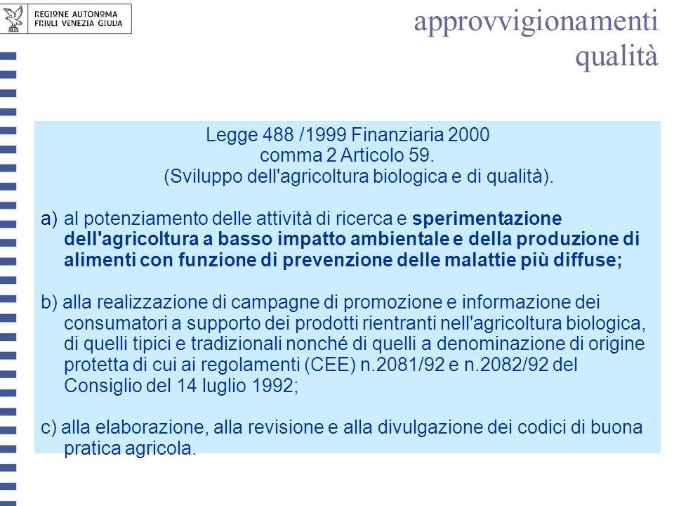 approvvigionamenti qualità Legge 488 /1999 Finanziaria 2000