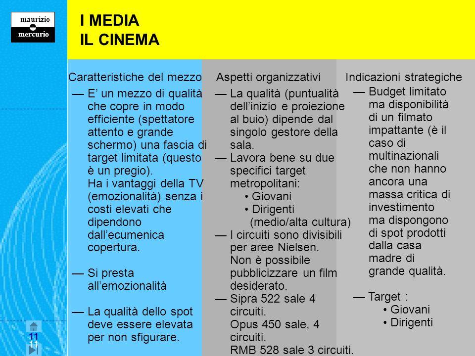 I MEDIA IL CINEMA Caratteristiche del mezzo Aspetti organizzativi