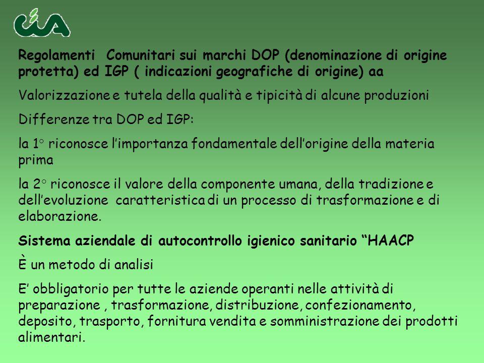 Regolamenti Comunitari sui marchi DOP (denominazione di origine protetta) ed IGP ( indicazioni geografiche di origine) aa