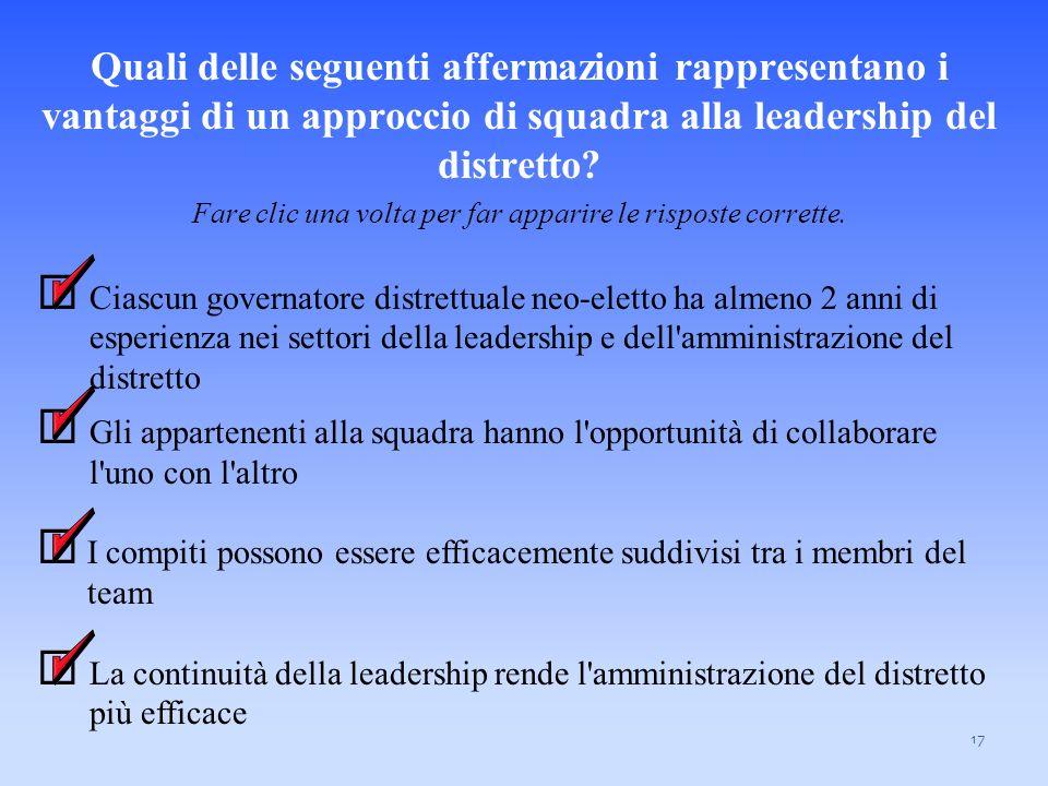 Responsabilità del team del Governatore Distrettuale