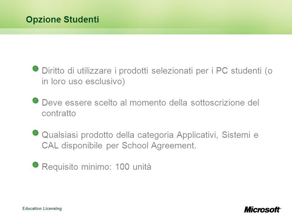 Opzione Studenti Diritto di utilizzare i prodotti selezionati per i PC studenti (o in loro uso esclusivo)