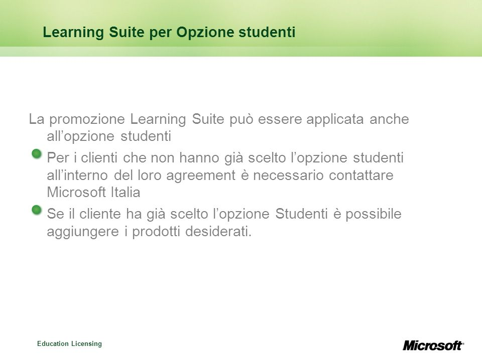 Learning Suite per Opzione studenti