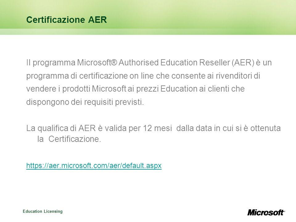 Certificazione AER Il programma Microsoft® Authorised Education Reseller (AER) è un.
