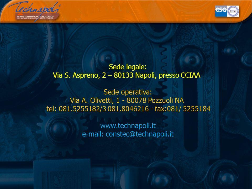 Via S. Aspreno, 2 – 80133 Napoli, presso CCIAA Sede operativa: