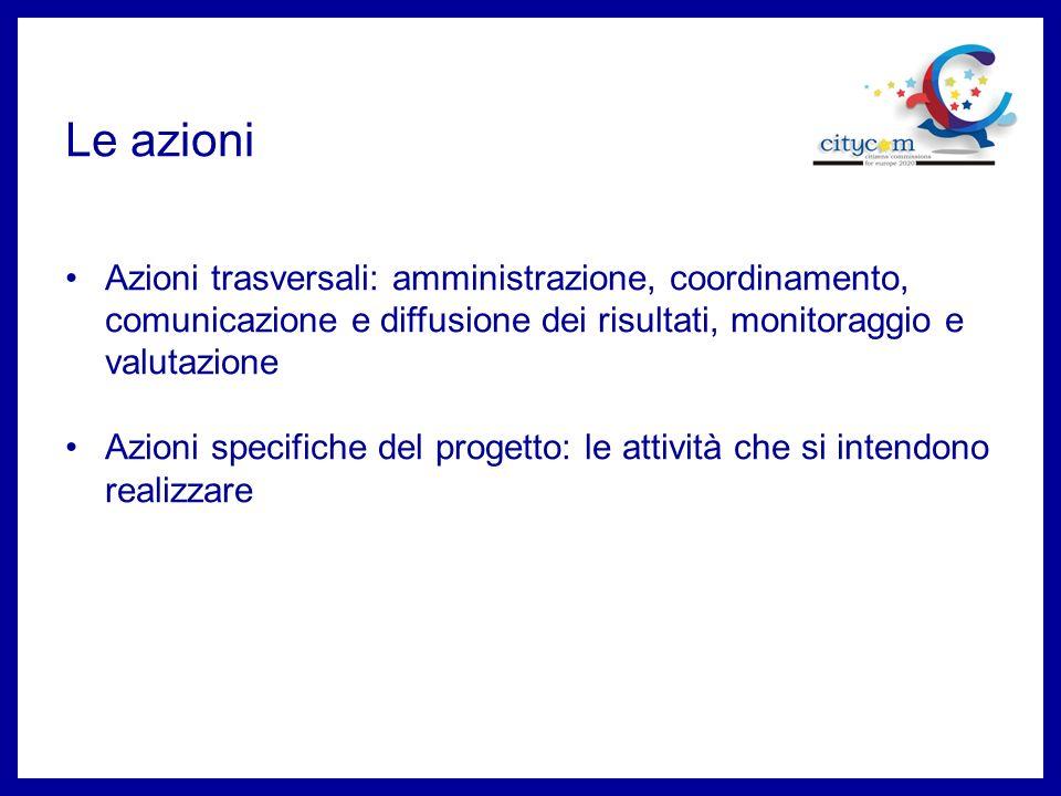 Le azioni Azioni trasversali: amministrazione, coordinamento, comunicazione e diffusione dei risultati, monitoraggio e valutazione.