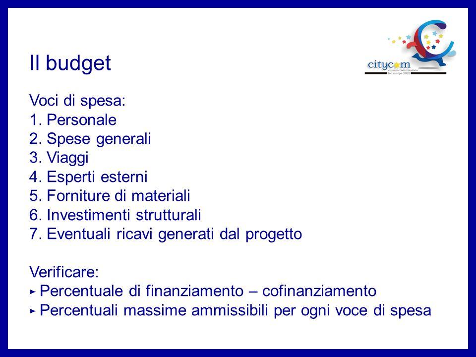 Il budget Voci di spesa: 1. Personale 2. Spese generali 3. Viaggi