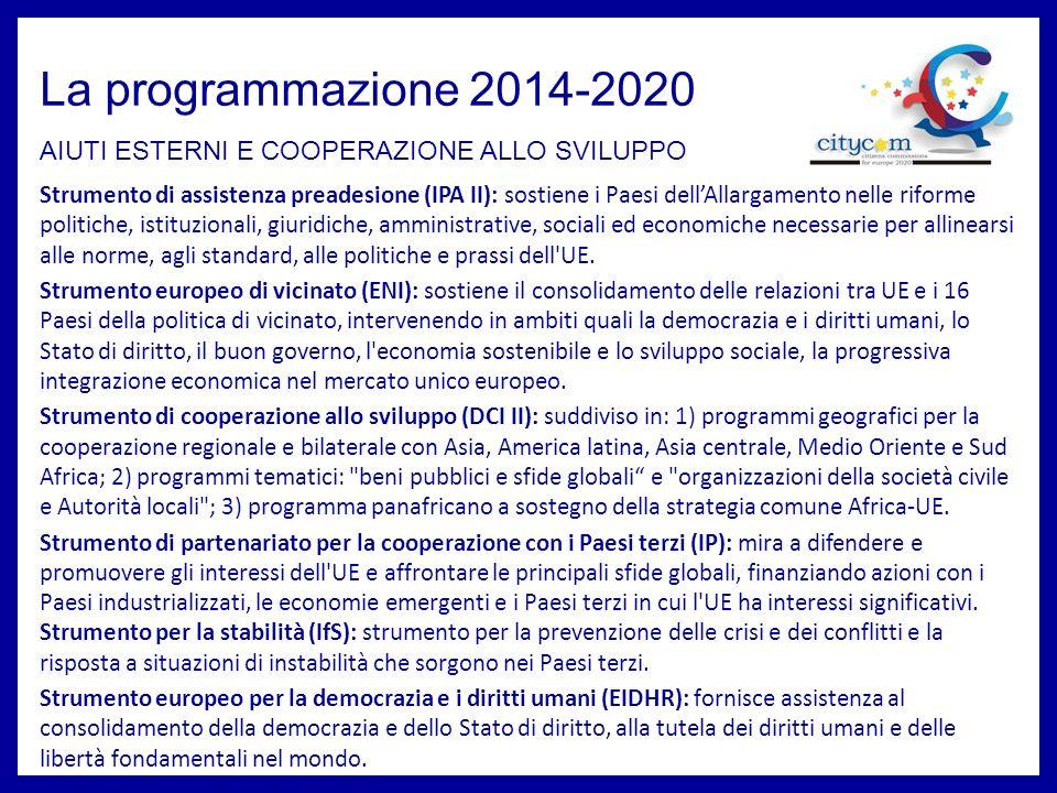 La programmazione 2014-2020 AIUTI ESTERNI E COOPERAZIONE ALLO SVILUPPO