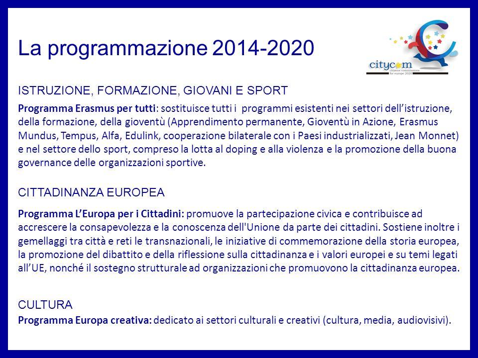 La programmazione 2014-2020 ISTRUZIONE, FORMAZIONE, GIOVANI E SPORT