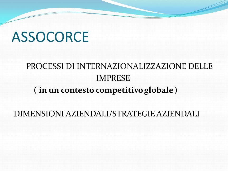 ASSOCORCE PROCESSI DI INTERNAZIONALIZZAZIONE DELLE IMPRESE ( in un contesto competitivo globale ) DIMENSIONI AZIENDALI/STRATEGIE AZIENDALI