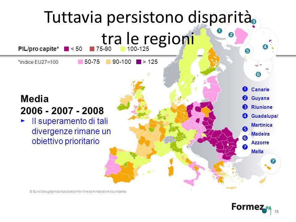 Tuttavia persistono disparità tra le regioni