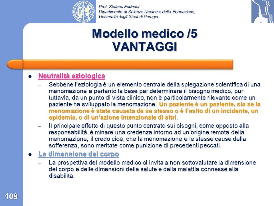 Modello medico /5 VANTAGGI