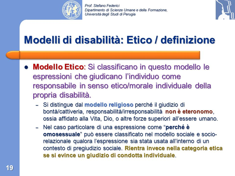 Modelli di disabilità: Etico / definizione