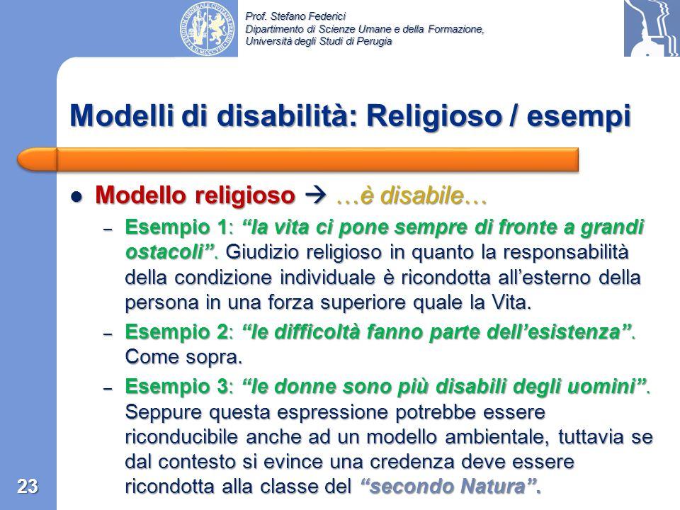 Modelli di disabilità: Religioso / esempi