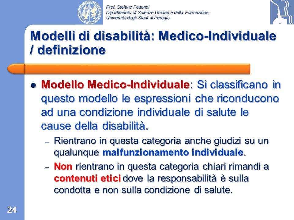 Modelli di disabilità: Medico-Individuale / definizione