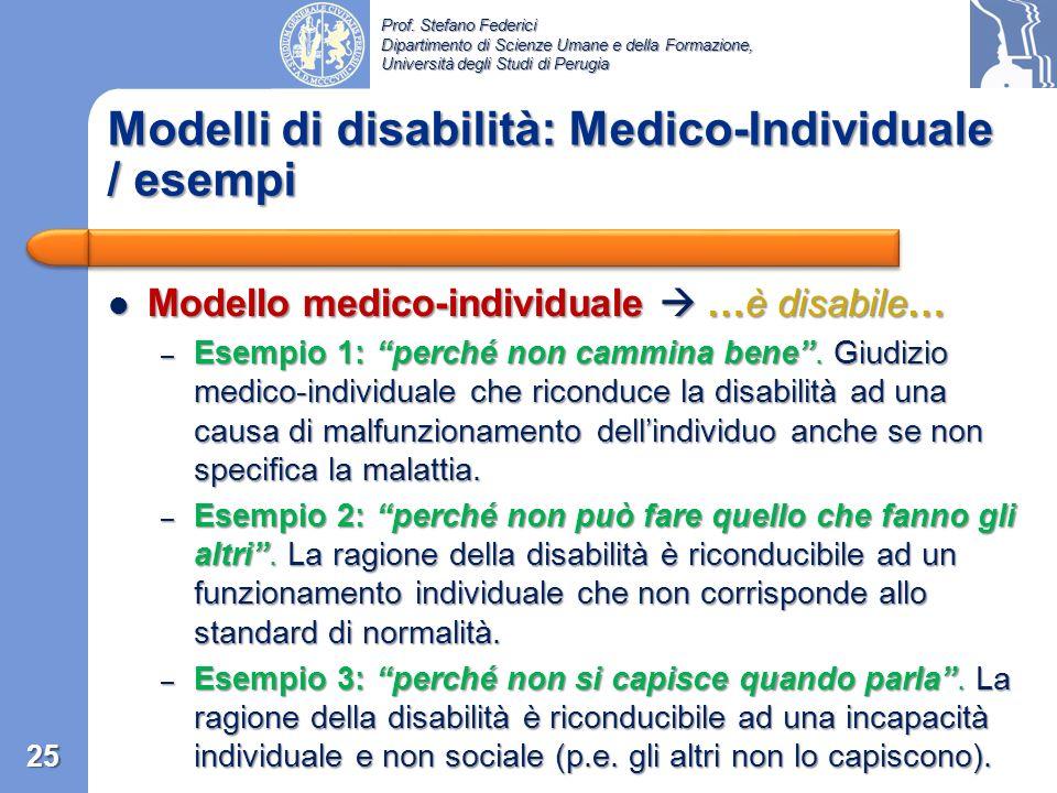 Modelli di disabilità: Medico-Individuale / esempi