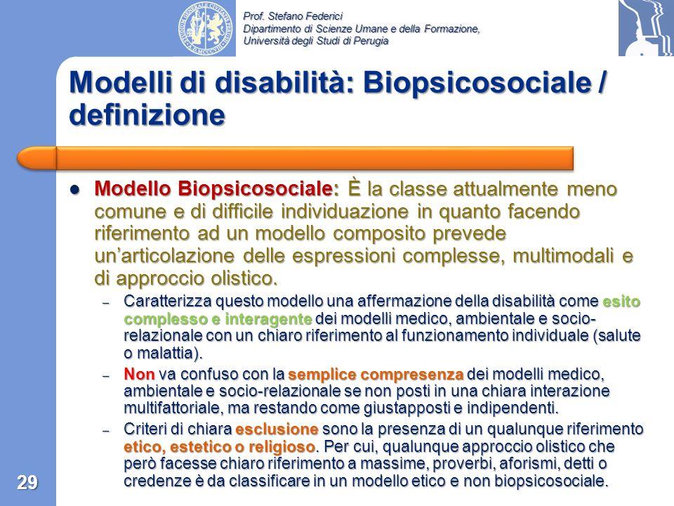 Modelli di disabilità: Biopsicosociale / definizione