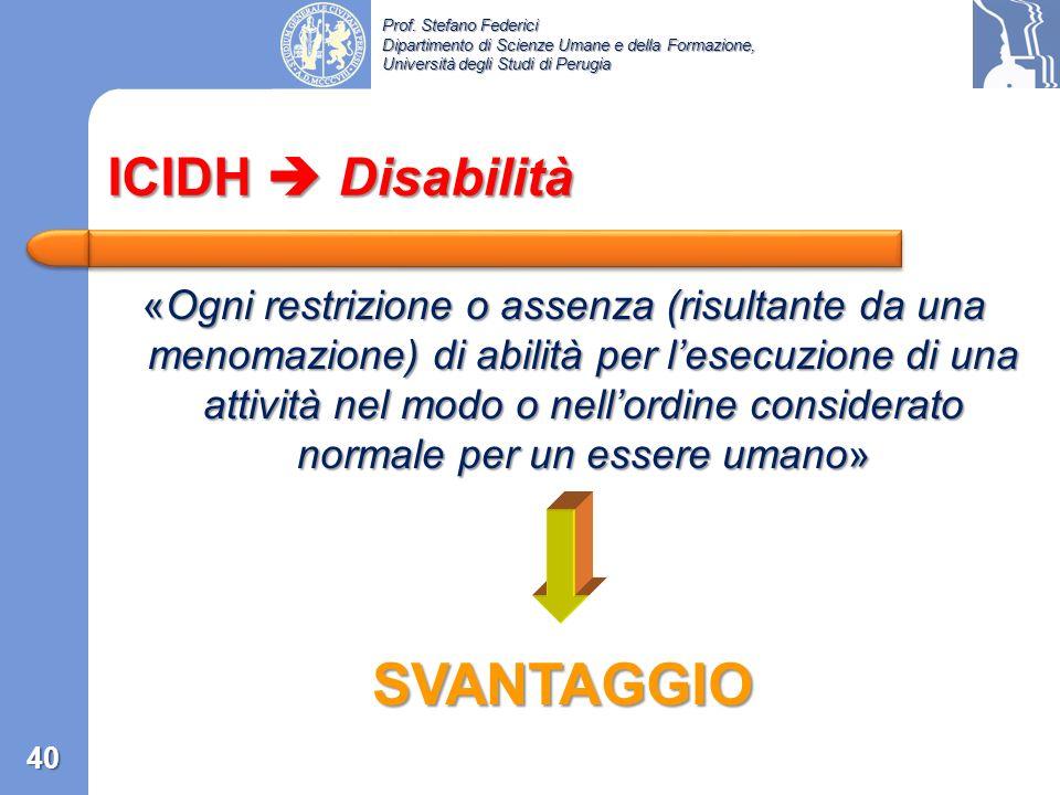 SVANTAGGIO ICIDH  Disabilità