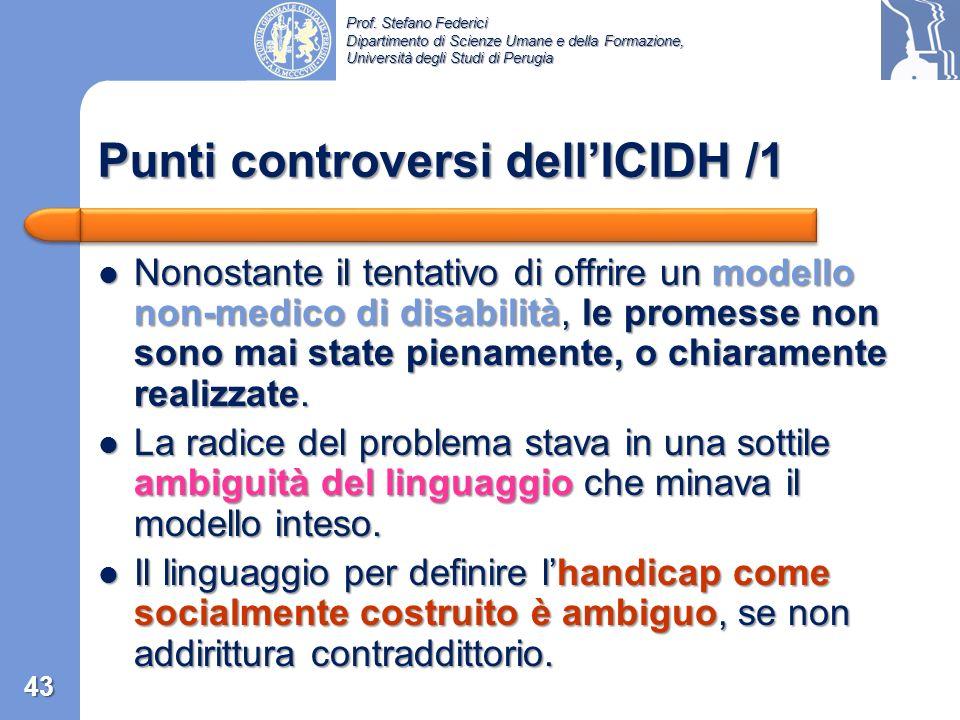 Punti controversi dell'ICIDH /1