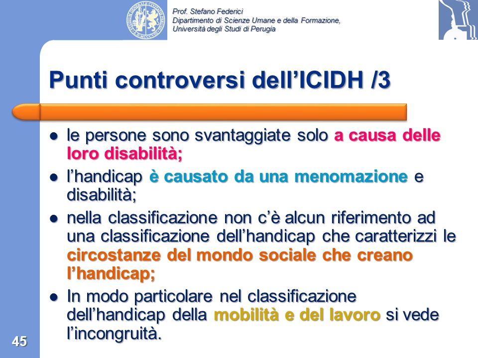 Punti controversi dell'ICIDH /3