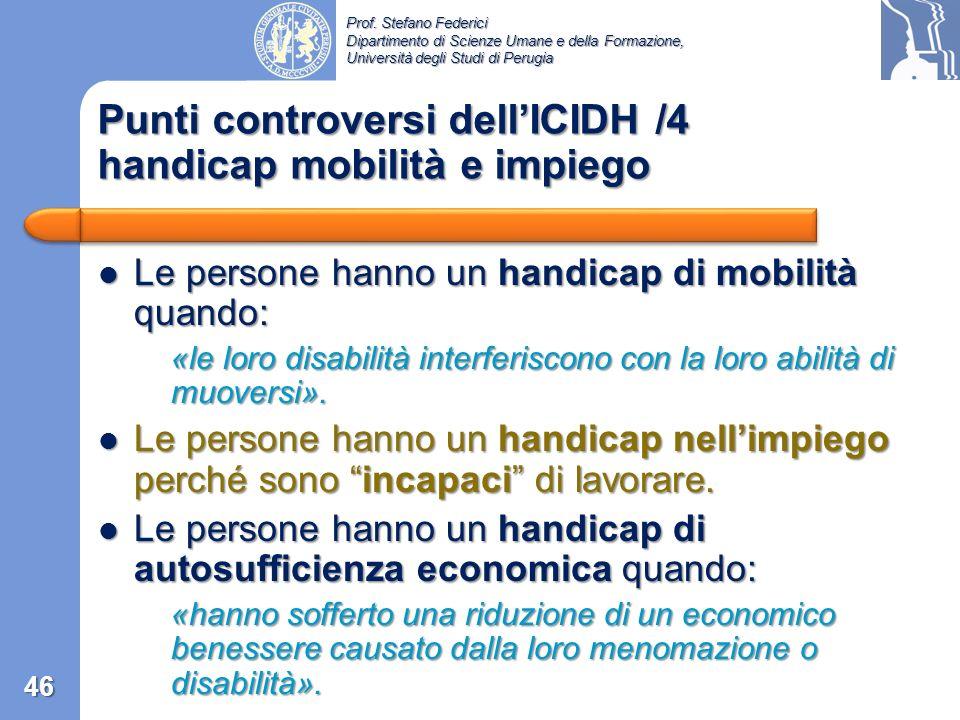 Punti controversi dell'ICIDH /4 handicap mobilità e impiego