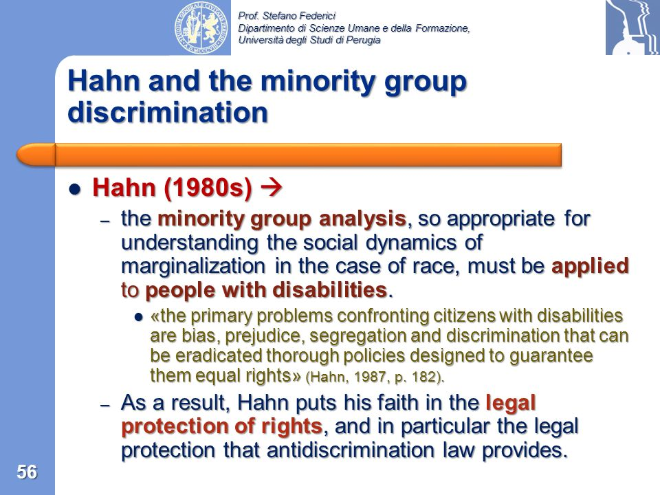 Hahn and the minority group discrimination