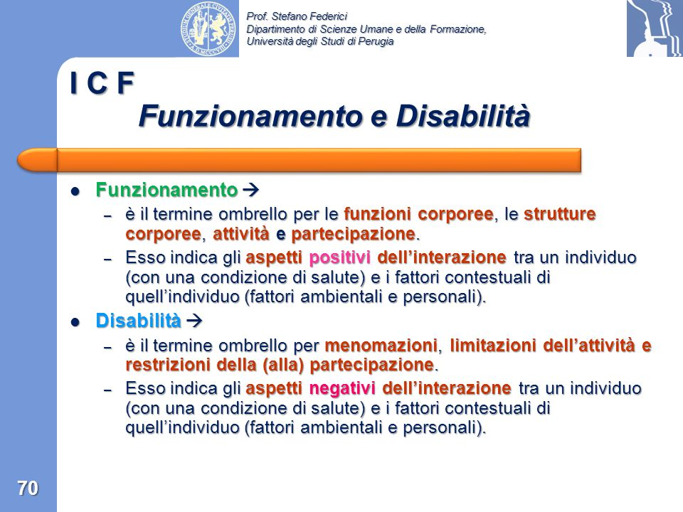 I C F Funzionamento e Disabilità