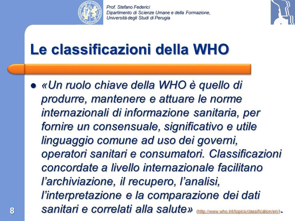 Le classificazioni della WHO