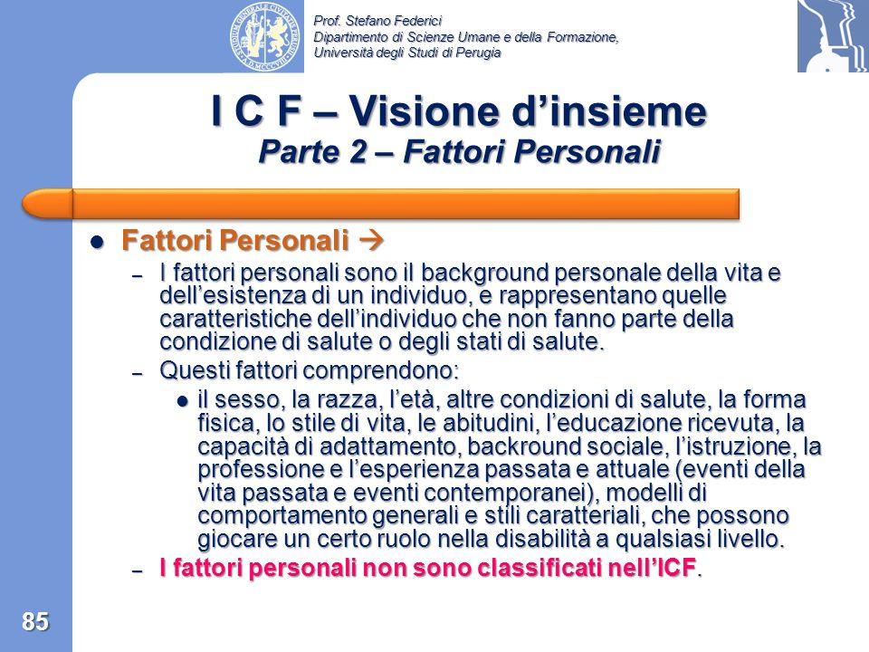 I C F – Visione d'insieme Parte 2 – Fattori Personali