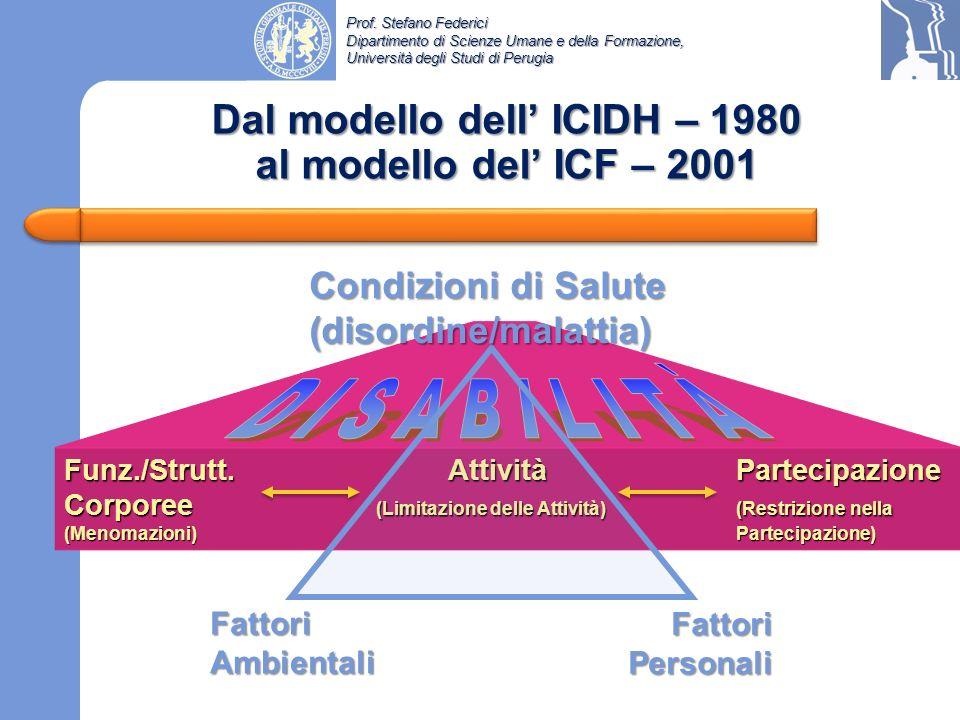 Dal modello dell' ICIDH – 1980 al modello del' ICF – 2001