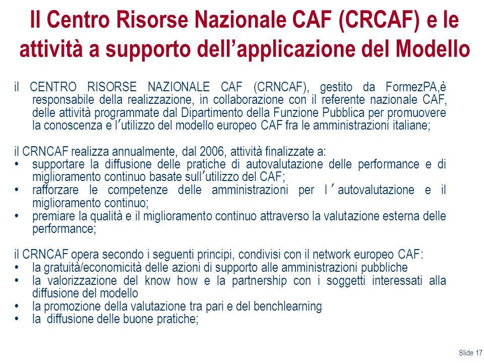 Il Centro Risorse Nazionale CAF (CRCAF) e le attività a supporto dell'applicazione del Modello