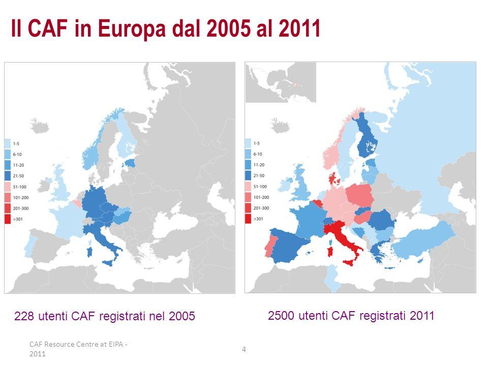 Il CAF in Europa dal 2005 al 2011 228 utenti CAF registrati nel 2005