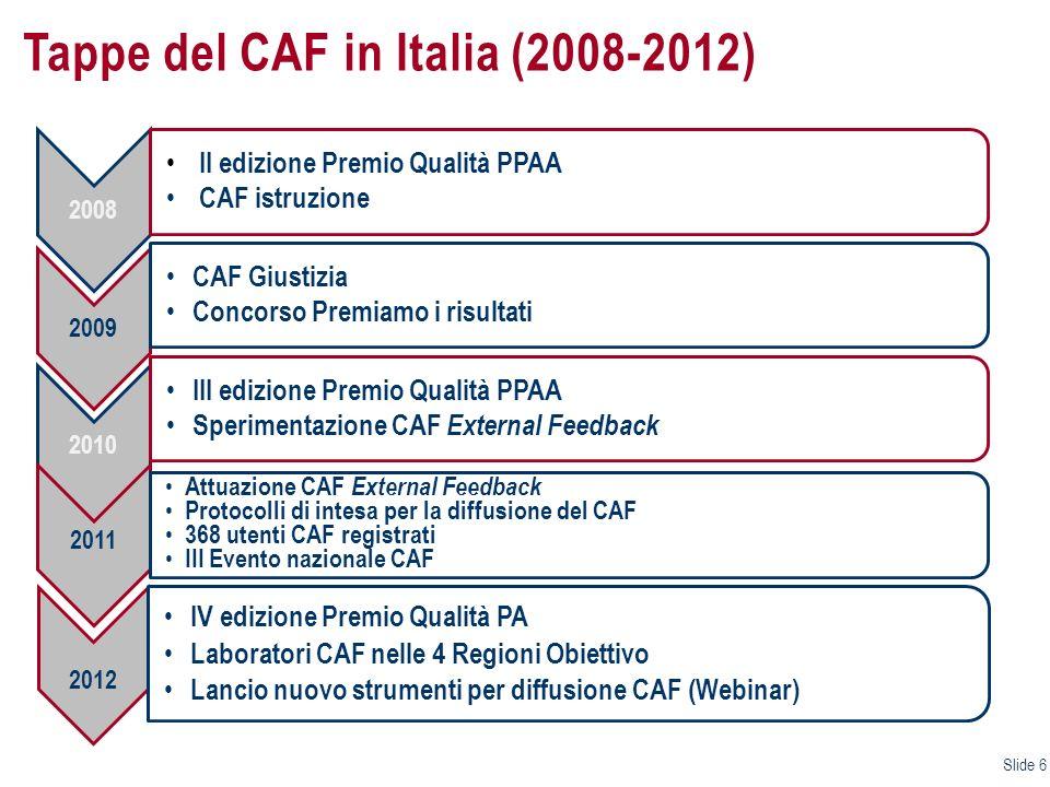 Tappe del CAF in Italia (2008-2012)