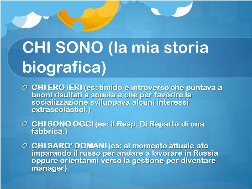 CHI SONO (la mia storia biografica)