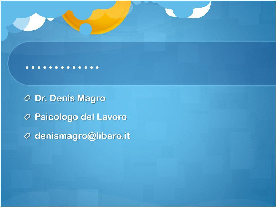 …………. Dr. Denis Magro Psicologo del Lavoro denismagro@libero.it