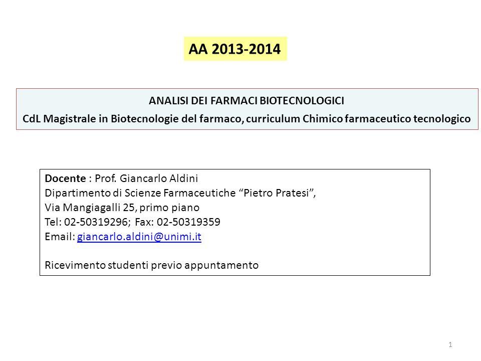 ANALISI DEI FARMACI BIOTECNOLOGICI