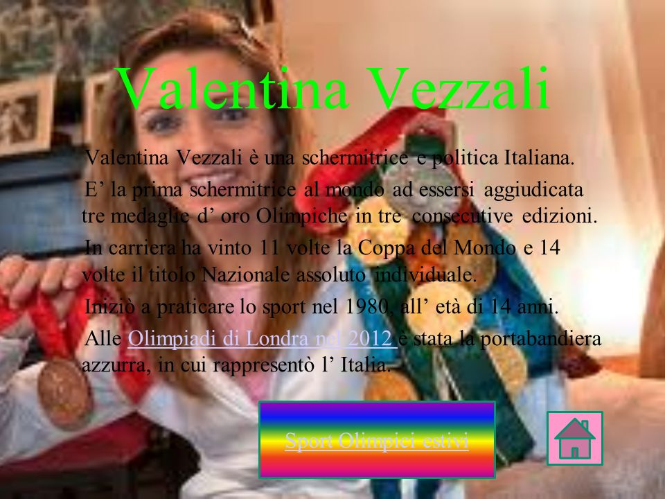 Valentina VezzaliValentina Vezzali è una schermitrice e politica Italiana.