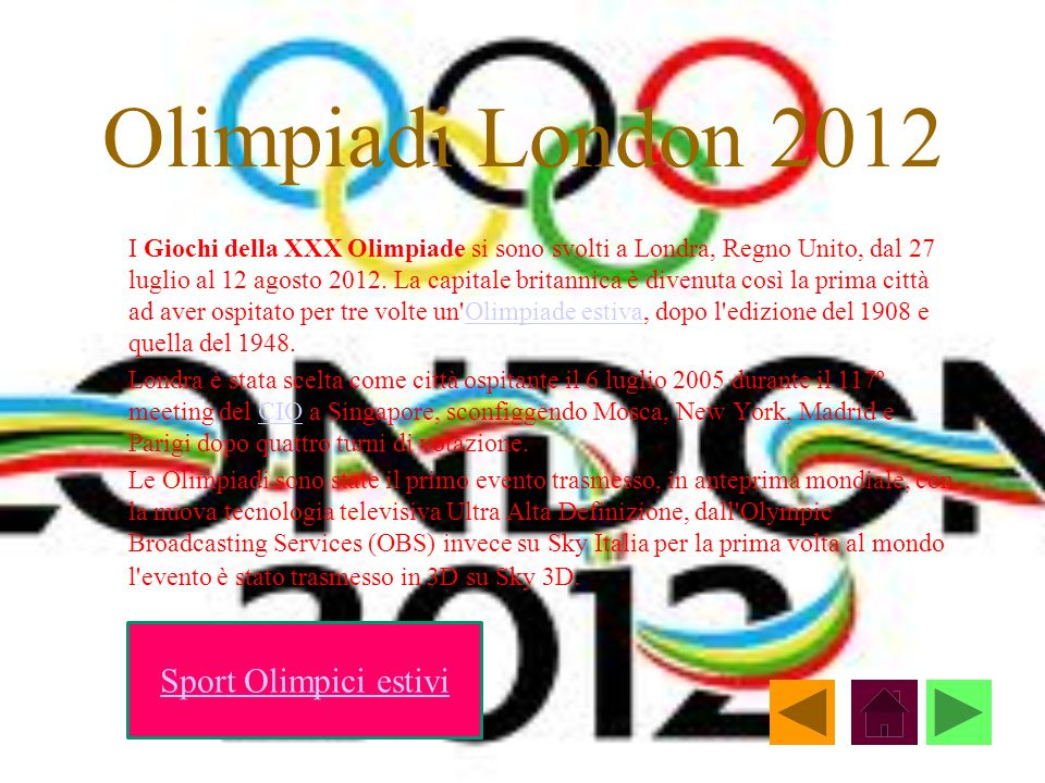 Olimpiadi London 2012 Sport Olimpici estivi