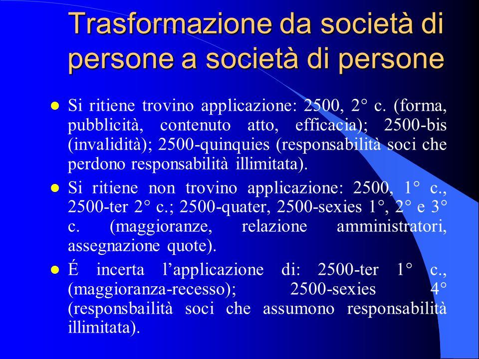Trasformazione da società di persone a società di persone
